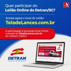 26 DE OUTUBRO, LEILÃO DO DETRAN SC EXCLUSIVAMENTE ON LINE